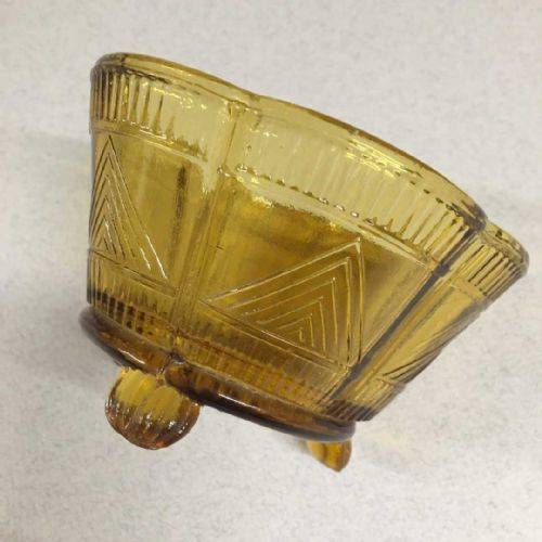 Pressed Glass Amber Footed Bowl Dish - 30s 40s